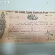 Documenti bancari: LETRA DE CAMBIO. AGENCY OF THE ANGLO-SOUTH AMERICAN BANK LIMITED. ORURO. 1914. Lote 207054885