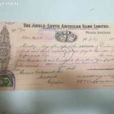 Documenti bancari: LETRA DE CAMBIO. AGENCY OF THE ANGLO-SOUTH AMERICAN BANK LIMITED. PUNTA ARENAS. 1911. Lote 207054897