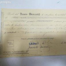 Documentos bancarios: RECIBI. BANCO MERCANTIL. LEON. 1914. Lote 207055492