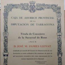 Documentos bancarios: CARPETA TÍTULO CONSEJERO SUCURSAL REUS CAJA AHORROS PROVINCIAL TARRAGONA JOSÉ Mª PAMIES LLEVAT 1956. Lote 208112955