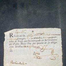 Documentos bancarios: ESPARTINAS, 1761. RECIBI POR 60 FANEGAS,1 ALMUD ,2 QUARTILLO DE TRIGO. GRANEROS DEL POFITO. LEER. Lote 208666965