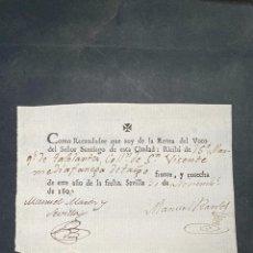 Documentos bancarios: SEVILLA, 1800. RECAUDADOR DE LA RENTA DEL VOTO DEL SEÑOR SANTIAGO. RECIBI. VER. Lote 209092475