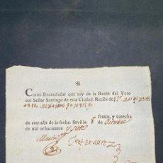 Documentos bancarios: SEVILLA, 1807. RECAUDADOR DE LA RENTA DEL VOTO DEL SEÑOR SANTIAGO. RECIBI. VER. Lote 209092518
