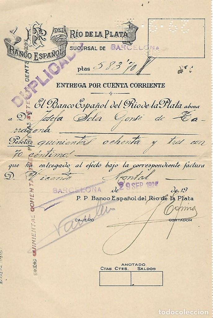 BANCO ESPAÑOL DEL RIO DE LA PLATA - SUC. BARCELONA - AÑO 1924 (Coleccionismo - Documentos - Documentos Bancarios)