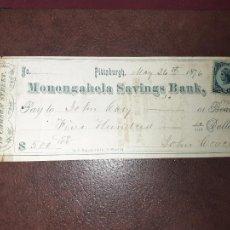 Documentos bancarios: PITTSBURGH, ESTADOS UNIDOS. CHEQUE DE 100 DOLLARS 1876. MONONGALHELA SAVINGS BANK. Lote 209882143