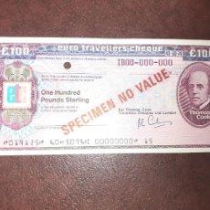 Documentos bancarios: THOMAS COOK. EURO TRAVELLER´S CHEQUE 100 POUNDS STERLING. SPECIMEN. Lote 209882335