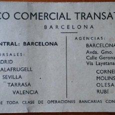 Documentos bancarios: TALONARIO DEL BANCO COMERCIAL TRANSATLÁNTICO. BARCELONA, 1961. Lote 211728689