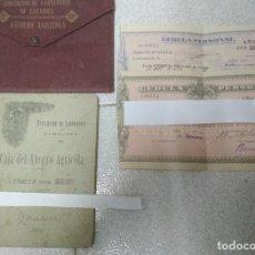 Documentos bancarios: LIBRETA CAJA DEL AHORRO AGRICOLA.ASOCIACION DE LABRADORES DE ZARAGOZA.1925 + 2 CEDULAS PERSONALES. Lote 211954140