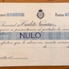 Documentos bancários: NAVARRA - CREDITO NAVARRO- PAGARE-. Lote 212769543