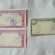 Documentos bancarios: 3 TIMBRES PAGOS AL ESTADO 50 Y 100 PESETAS. Lote 213483792