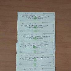 Documentos bancarios: CAJA DE AHORROS INSULAR DE LA PALMA 6 CHEQUES NUMERACIÓN CORRELATIVA. Lote 213800491
