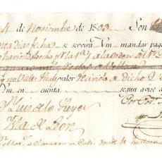 Documentos bancarios: LETRA DE CAMBIO MADRID. 4 DE NOVIEMBRE DE 1803. Lote 214720798