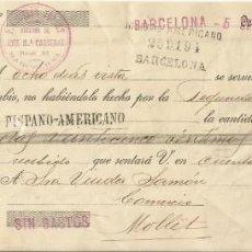 Documentos bancarios: LETRA DE CAMBIO CLASE 16A HISPANOAMERICANO. MOLLET DEL VALLÉS 1916. SEGALÉS. SAMÓN. BARCELONA.. Lote 215513435