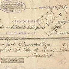 Documentos bancarios: LETRA DE CAMBIO CLASE 16A. 1916. CASTANY BARCELONA. ANTONIO SEGALÉS. MOLLET. SAMÓN. PALOU. M. VALLS.. Lote 215517316