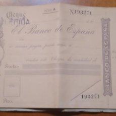 Documentos bancarios: TALONARIO CHEQUERA CHEQUES NOMINATIVOS BANCO DE ESPAÑA EN BLANCO DEL SIGLI XX. Lote 215677135