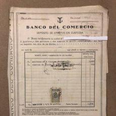 Documentos bancarios: BANCO DEL COMERCIO, DEPÓSITO EFECTOS CUSTODIA. ACCIONES BANCO ESPAÑOL RÍO DE LA PLATA (1934). 3 PÁG.. Lote 216799502