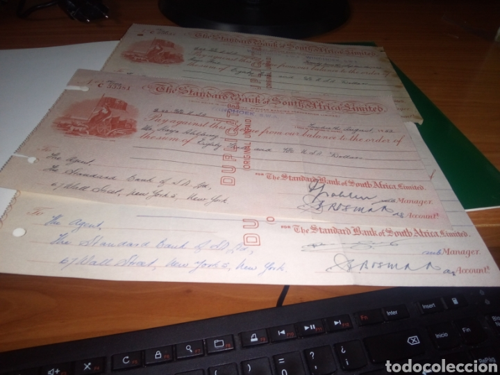 Documentos bancarios: Lote de tres cheques THE STANDARDS BANK OF SOUTH AFRICA , LIMITED - AÑO 1952 - Foto 2 - 217164286