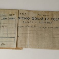 Documenti bancari: TALONES ANTONIO GONZÁLEZ EGEA ALMERÍA. Lote 218266711