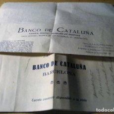 Documentos bancarios: TALONARIO ANTIGUO BANCO DE CATALUÑA . BARCELONA Y CARTA 1929 - 1931. Lote 218329597