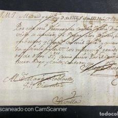 Documentos bancarios: MADRID, 1766. LETRA DE CAMBIO. MARQUES DE TABLANTES. MANUSCRITA. VER FOTOS. Lote 218674478