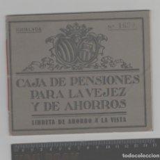 Documentos bancarios: LOTE V- LIBRETA BANCO CAJA PENSIONES IGUALADA BARCELONA AÑO 1912. Lote 219838995