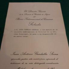 Documentos bancarios: BANCO INTERNACIONAL COMERCIO 1974 MADRID NOMBRAMIENTO DIRECTOR. Lote 220964597