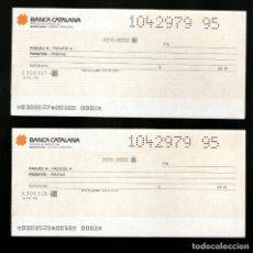 Documentos bancarios: BANCA CATALANA PAREJA SERIE NUMERACIÓN CORRELATIVA - TALON CHEQUE BANCARIO COLECCIONISMO BANCARIO. Lote 221615217