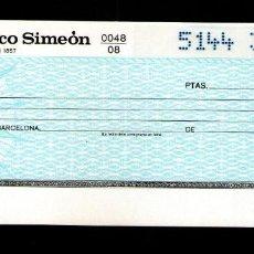 Documentos bancarios: BANCO SIMEON - TALÓN CHEQUE BANCARIO COLECCIONISMO BANCARIO. Lote 221615490