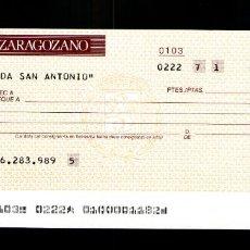 Documentos bancarios: BANCO ZARAGOZANO - TALÓN CHEQUE BANCARIO COLECCIONISMO BANCARIO. Lote 221615585