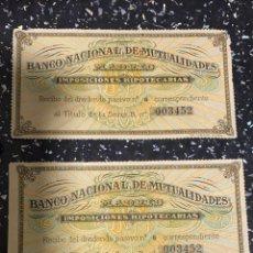 Documentos bancarios: BANCO NACIONAL MUTUALIDADES IMPOSICIONES HIPOTECARIAS MEDIDAS: 11,5 X 6. Lote 221618247