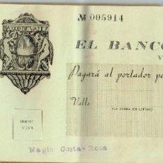 Documentos bancarios: 1952 A 1955 BANCO DE VALLS - TALONARIO DE CHEQUES LAS MATRICES ESCRITAS CON TINTA.. HACIENDO CUENTAS. Lote 221827055