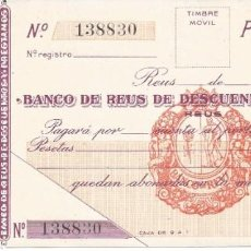 Documentos bancarios: REUS-TARRAGONA. Lote 222570270