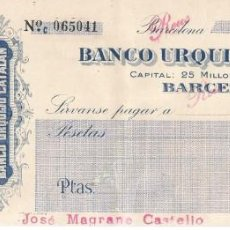 Documentos bancarios: REUS-BARCELONA. Lote 222572497
