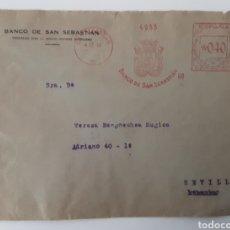 Documentos bancarios: CARTA SOBRE BANCO DE SAN SEBASTIAN CON TRES MATASELLOS DIFERENTES 1940. Lote 222605565