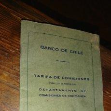 Documentos bancarios: ANTIGUO DOCUMENTO, BANCO DE CHILE, TARIFA DE COMISIONES, AÑO 1935. Lote 224257521