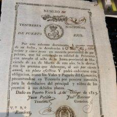 Documentos bancarios: DOCUMENTO TESORERÍA NACIONAL DE PUERTO RICO 1813 / OBLIGACION. Lote 224287958