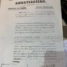 Documentos bancarios: DOCUMENTO ANTIGUO AMORTIZACIÓN DE FINCAS NACIONAL AÑO 1840. Lote 224291008