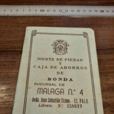 Documentos bancarios: CARTILLA CAJA AHORROS RONDA. 1966. Lote 224324390
