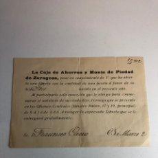 Documentos bancarios: ANTIGUO DOCUMENTO PARA ABRIR UNA CUENTA EN EL BANCO (LA CAJA DE AHORROS Y MONTE DE PIEDAD DE ZRGZ). Lote 225099190