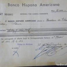 Documentos bancarios: BANCO HISPANO AMERICANO. Lote 226201775