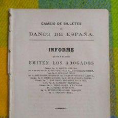 Documentos bancarios: 1866. CAMBIO DE BILLETES DEL BANCO DE ESPAÑA.. Lote 227916281