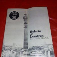 Documentos bancarios: BOLETIN DE LONDRES N 235 DE 1970 DEL BANCO BILBAO. Lote 229015025