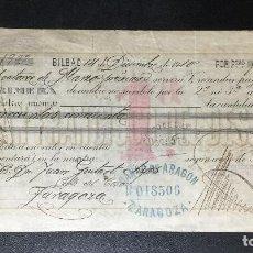 Documentos bancarios: LETRA DE CAMBIO DE BILBAO , SAN FRANCISCO DEL DESIERTO , FISCALES , 1910. Lote 230037425