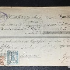 Documentos bancarios: LETRA DE CAMBIO DE BILBAO , AZNAR Y COMPAÑÍA , 1908 , FISCALES .. Lote 230037875