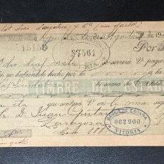 Documentos bancarios: LETRA CAMBIO , TIMBRE DEL ESTADO , 1902 , GIRO 10 CTOS. VITORIA . CLASE 16. Lote 230040510