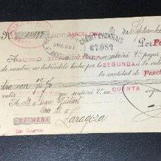Documentos bancarios: LETRA CAMBIO , 1901 , TIMBRE , FISCALES , GIRO , 10 CTOS. CLASE 16 , BARCELONA , ZARAGOZA. Lote 230041310