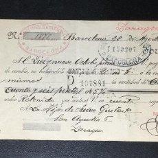 Documentos bancarios: LETRA DE CAMBIO , 1926 , CLASE 9 , TIMBRE , FISCALES , BARCELONA. Lote 230041985