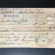 Documentos bancarios: LETRA DE CAMBIO , GIRO , 1895 , JULIUS G. NEVILLE , MADRID , LIVERPOOL. Lote 230043090