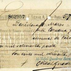 Documentos bancarios: PAGARÉ DEL BANCO DE ESPAÑA EN BARCELONA DEL 1890 P.P. VIDAL QUADRAS HERM. VALOR DE 5.700 PTS.. Lote 231803975