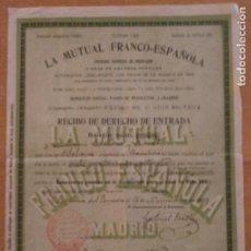 Documentos bancarios: T - LA MUTUAL FRANCO ESPAÑOLA MADRID - RECIBO DE DERECHO DE ENTRADA - 1907 VILAFRANCA PENEDÈS. Lote 232135875